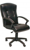 Фортуна-4 Кресло для руководителя (кожзам черный, крестовина пластиковая, подлокотники черные пластиковые)