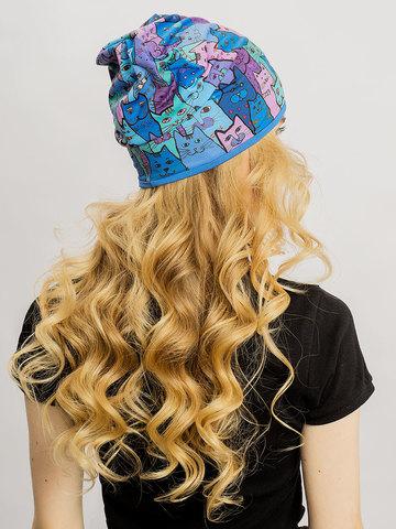 Женская летняя шапочка бини с принтом Котики (синие)