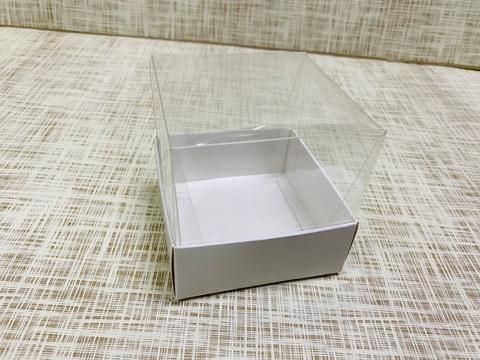 Коробка 8х8х8 см, картон, с прозрачной высокой крышкой,