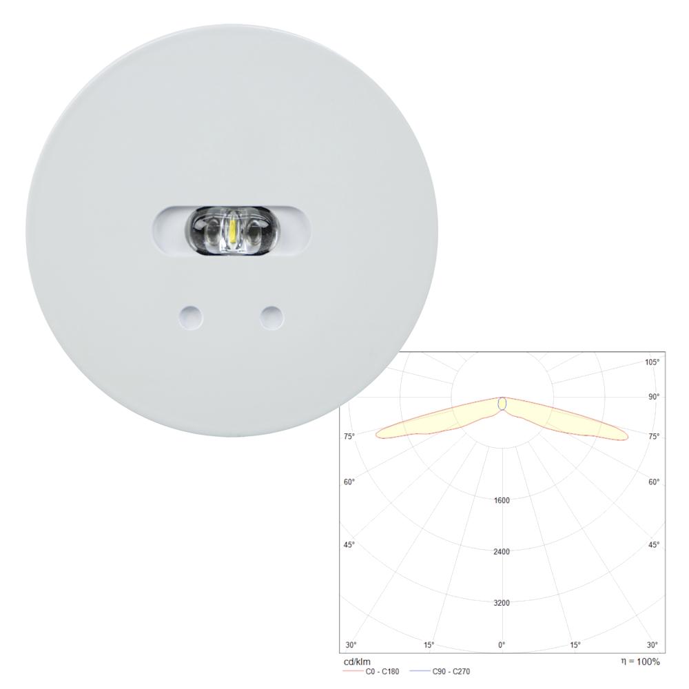 Встраиваемый круглый аварийный светильник на светодиодах для путей эвакуации SLIMSPOT II Line LOWBAY Teknoware с диаграммой светораспределения