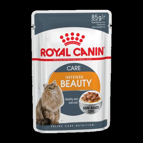 Royal Canin Intense Beauty Консервы для взрослых кошек для поддержания здоровья кожи и блеска шерсти кусочки в соусе (Пауч)