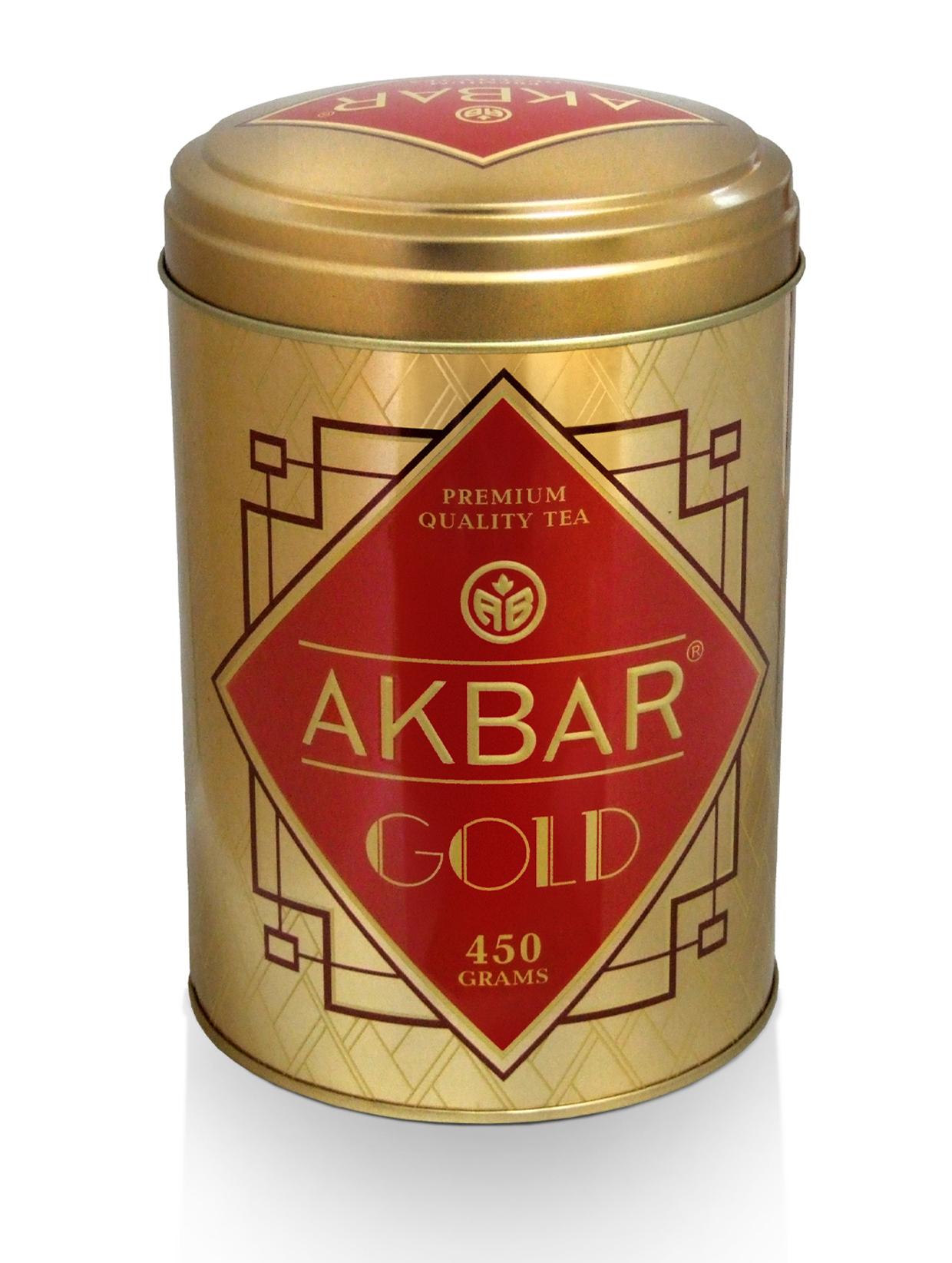 АКБАР GOLD, черный байховый цейлонский чай, жестяная банка, 450 гр.