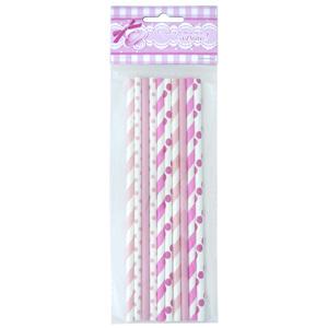Трубочки бумажные розовое ассорти 10шт