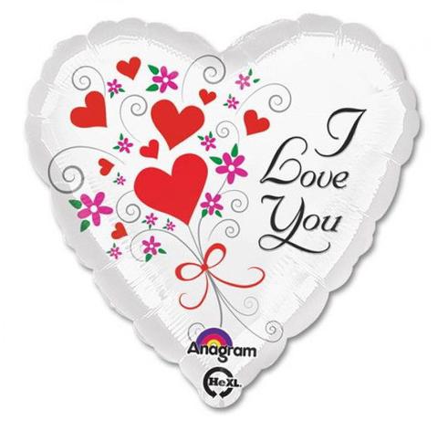 Шар Сердце ILY Сердца и цветы