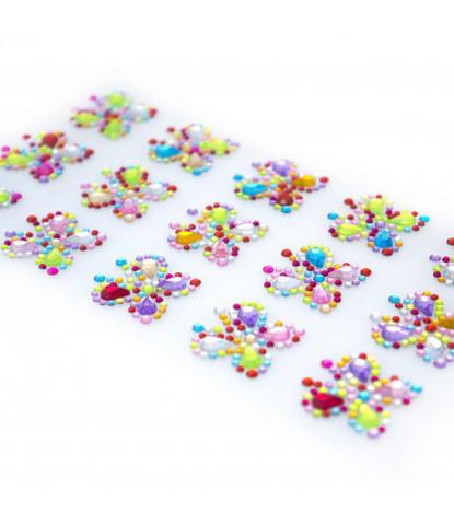 Стразы самоклеющиеся бабочки разноцветные 15 шт