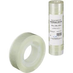 Скотч клейкая лента канцелярская прозрачная 15 мм х 33 м (12 штук в упаковке)