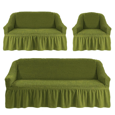 Чехлы на трехместный диван и двухместный диван +кресло,олива