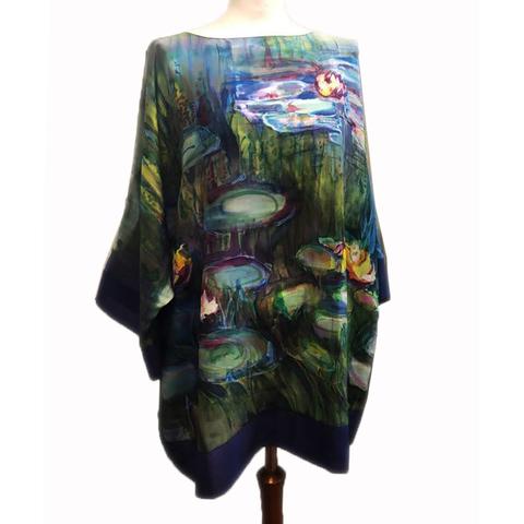 Шелковая блузка батик Кувшинки Моне