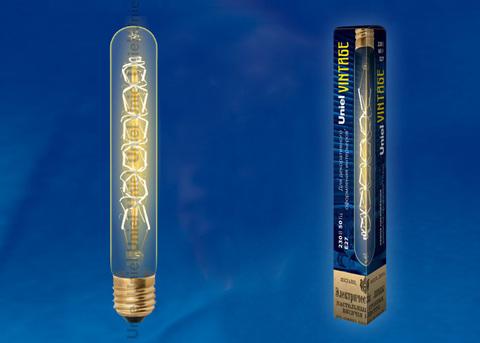 IL-V-L32A-60/GOLDEN/E27 CW01 Лампа накаливания Vintage. Форма «цилиндр», длина 185 мм. Форма нити CW. Картон. ТМ Uniel