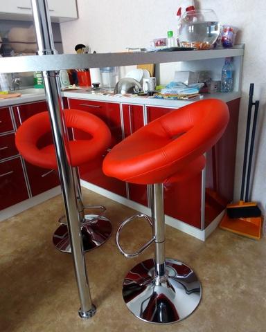 Сиденье для барного стула Mira/Мира, экокожа, красное (сидение)