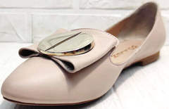 Кожаные туфли лодочки на низком ходу Wollen G192-878-322 Light Pink.