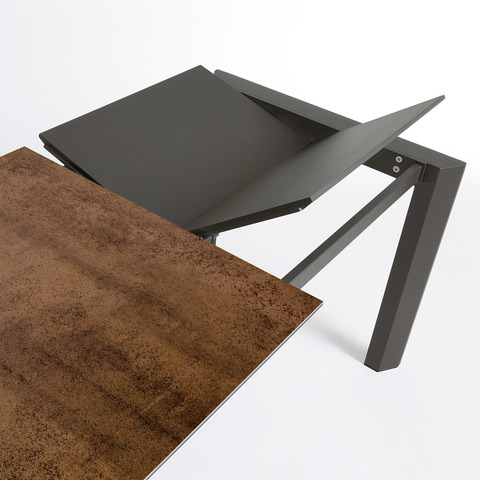 Стол Atta 160 (220) x90 антрацит, коричневый, керамика