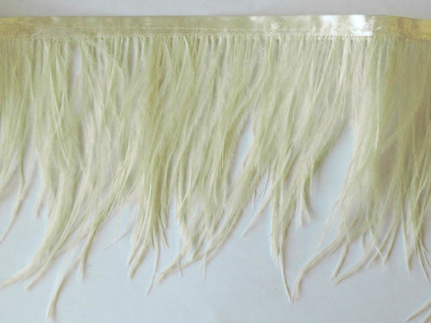 Тесьма  из перьев страуса h 10-15 см., светло-желтый