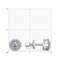 94021761 - Серьги-пусеты из серебра с фианитами