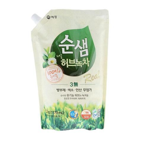 Средство для мытья посуды Зеленый чай Aekyung Soonsaem Natural Green Tea 1176 мл в мягкой упаковке