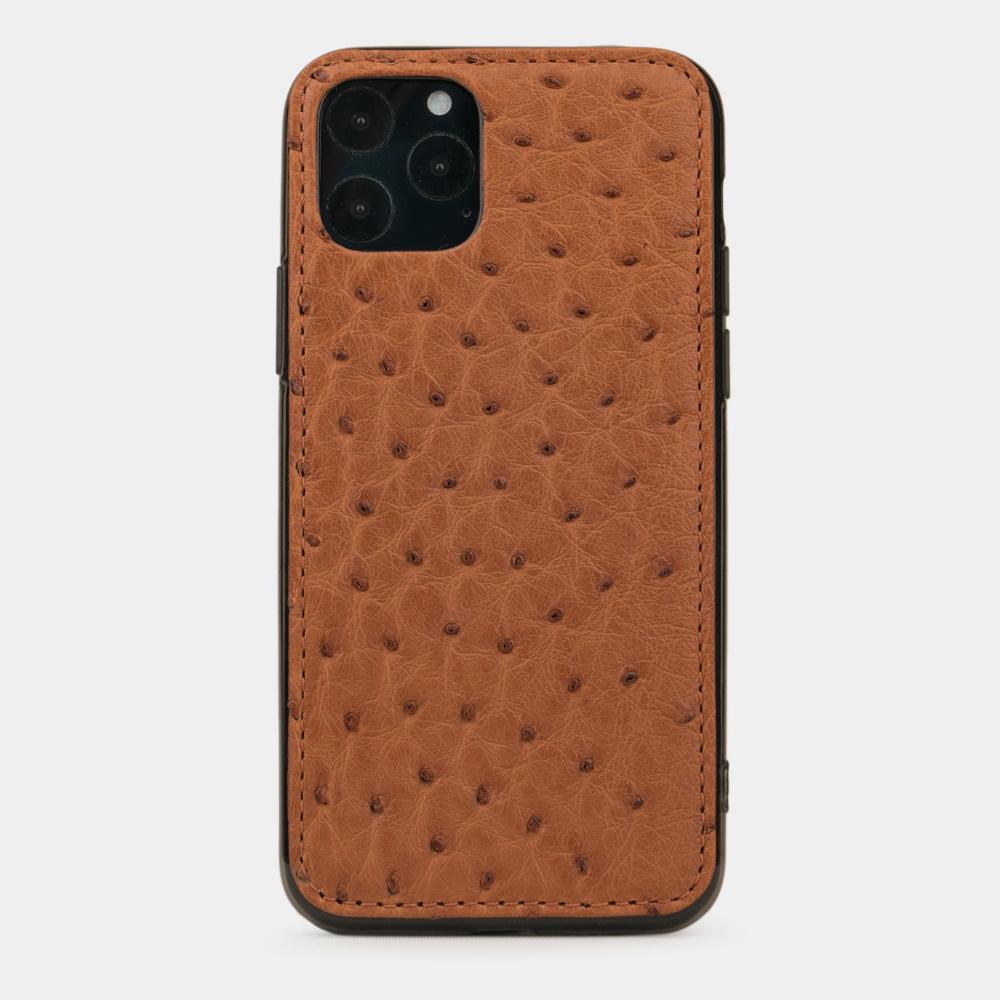 Чехол-накладка для iPhone 11 Pro из натуральной кожи страуса, коричневого цвета