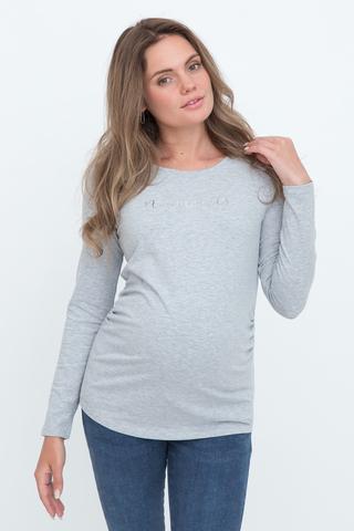 Лонгслив для беременных 10989 серый меланж