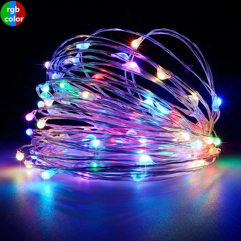 Гирлянда тонкая проволока LED разноцветная мультик