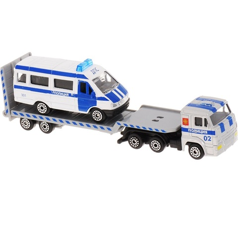 Технопарк Автотранспортер с машинкой Полиция 7,5 см