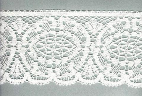 Мерсеризованное хлопковое кружево, цвет белый