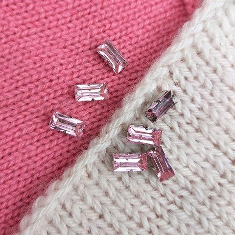 Стразы сток Max Mara пришивные 5х10 мм розовый