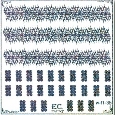 El Corazon Наклейки водные  для ногтей №W-f1--голубая голограф.W-f ассортимент