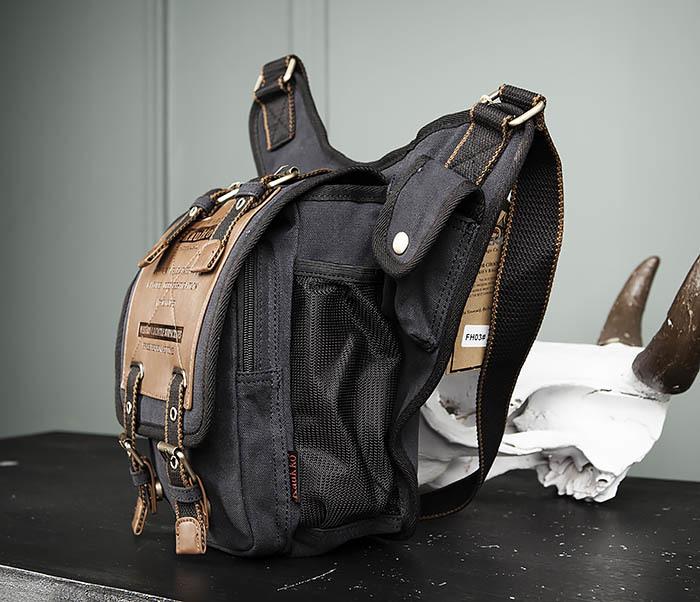 BAG307-1 Мужская сумка черного цвета из текстиля отличного качества фото 06