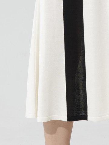 Женская юбка молочного цвета с контрастной полосой из шелка и вискозы - фото 5