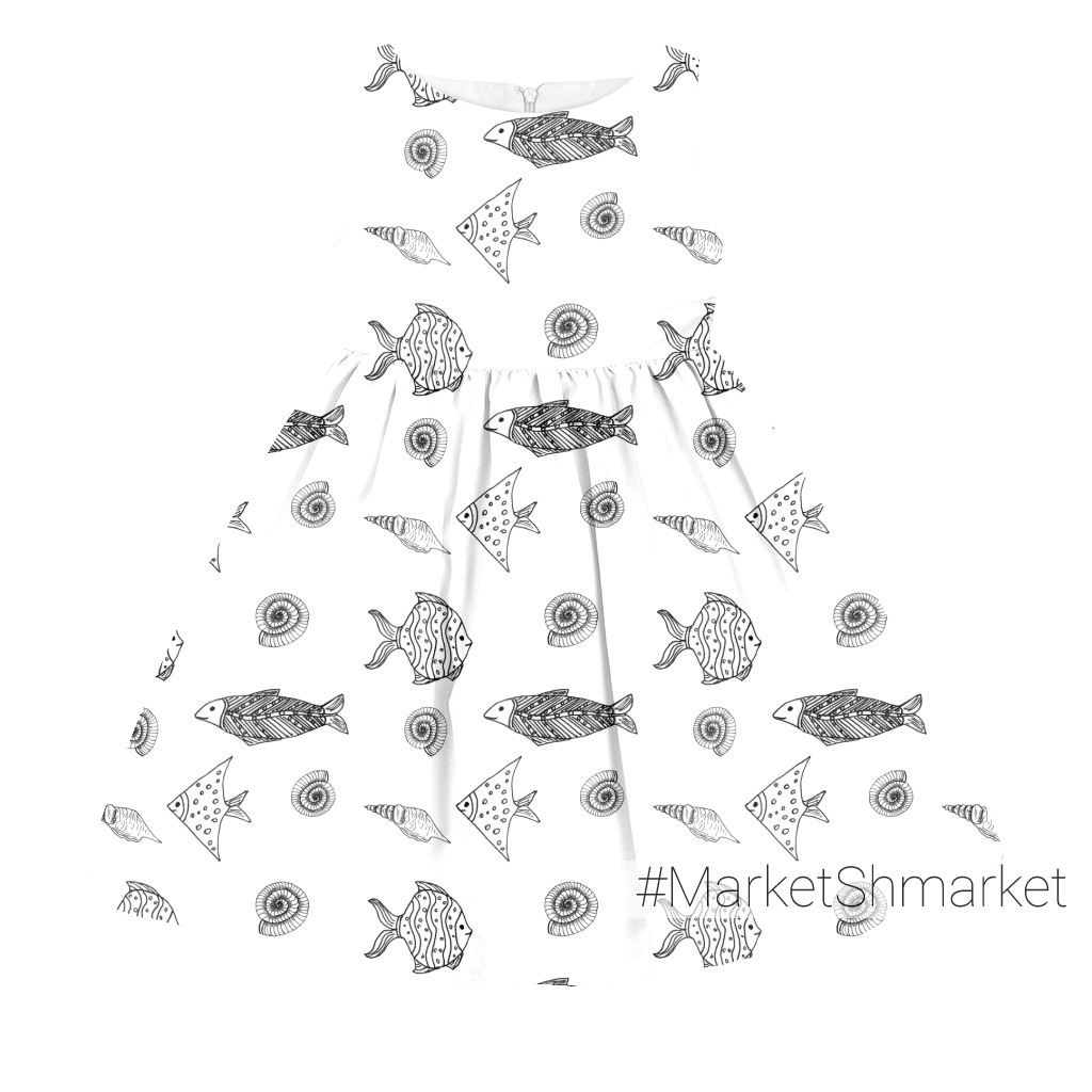 Морской  паттерн с рыбами и ракушками