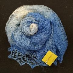 Пуховый палантин бело-голубой 45