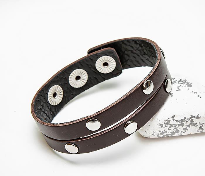 BL794-2 Коричневый кожаный браслет с заклепками