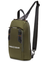 Рюкзак Swissgear с одним плечевым ремнем, зеленый, 18x5x33 см, 4 л