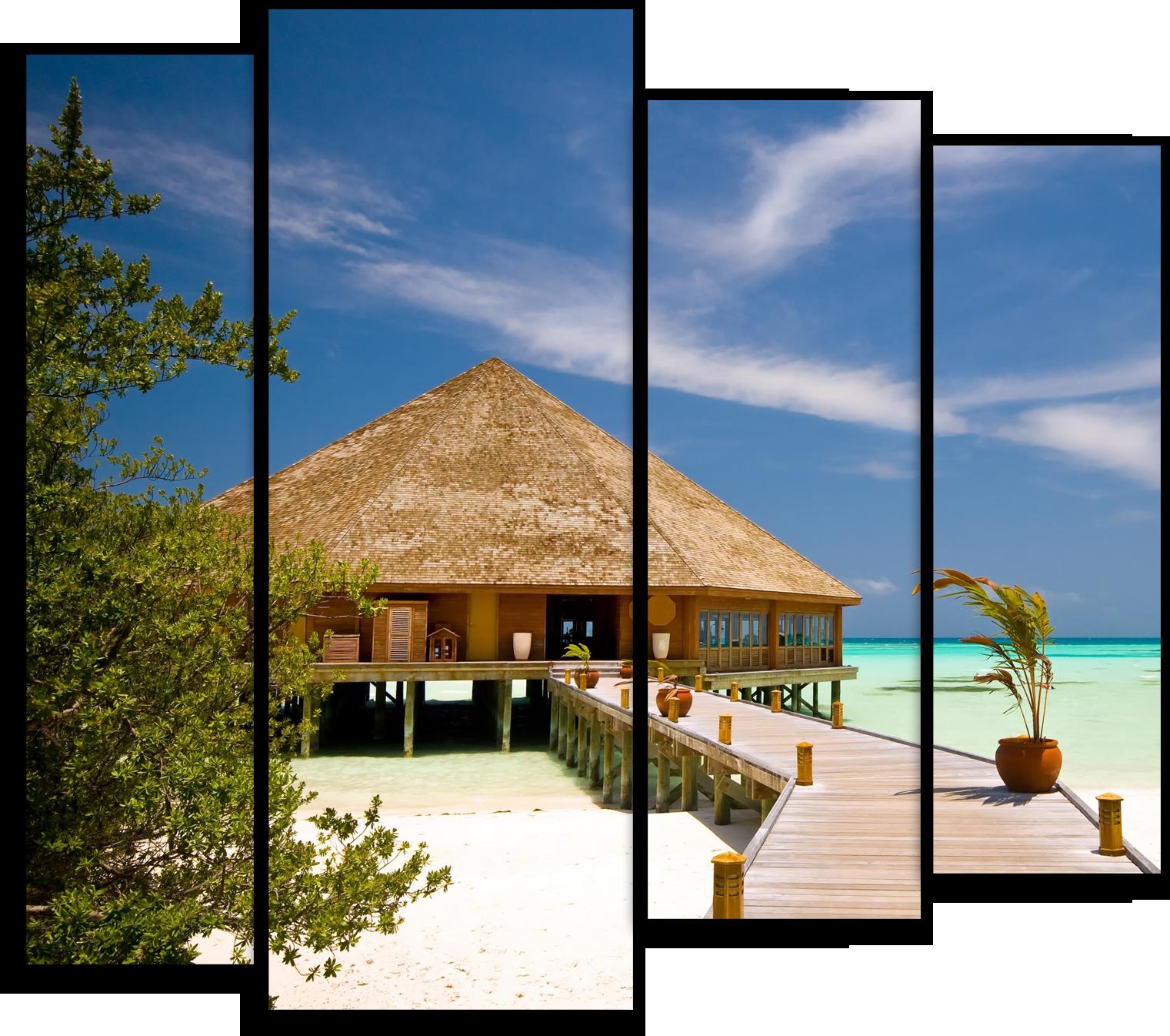 """Природа Модульная картина """"Пляжный домик"""" М422.png"""