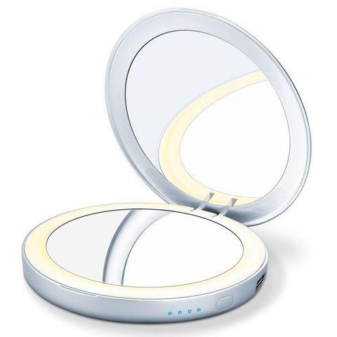 Зеркало косметическое карманное Beurer Power bank (B-BS39) с подсветкой серебристое