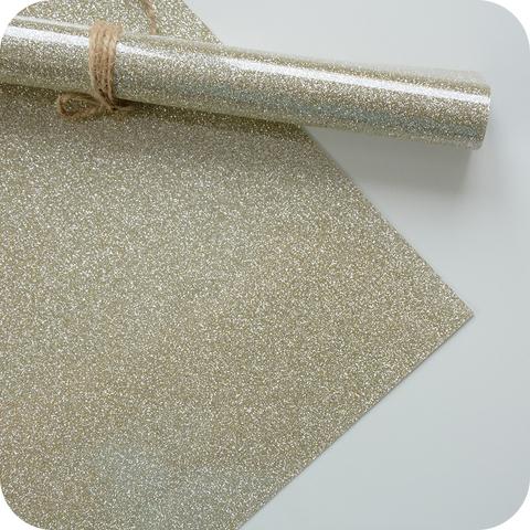 Термотрансферная пленка с глиттером, цвет светлое золото, размер отреза 25*25см