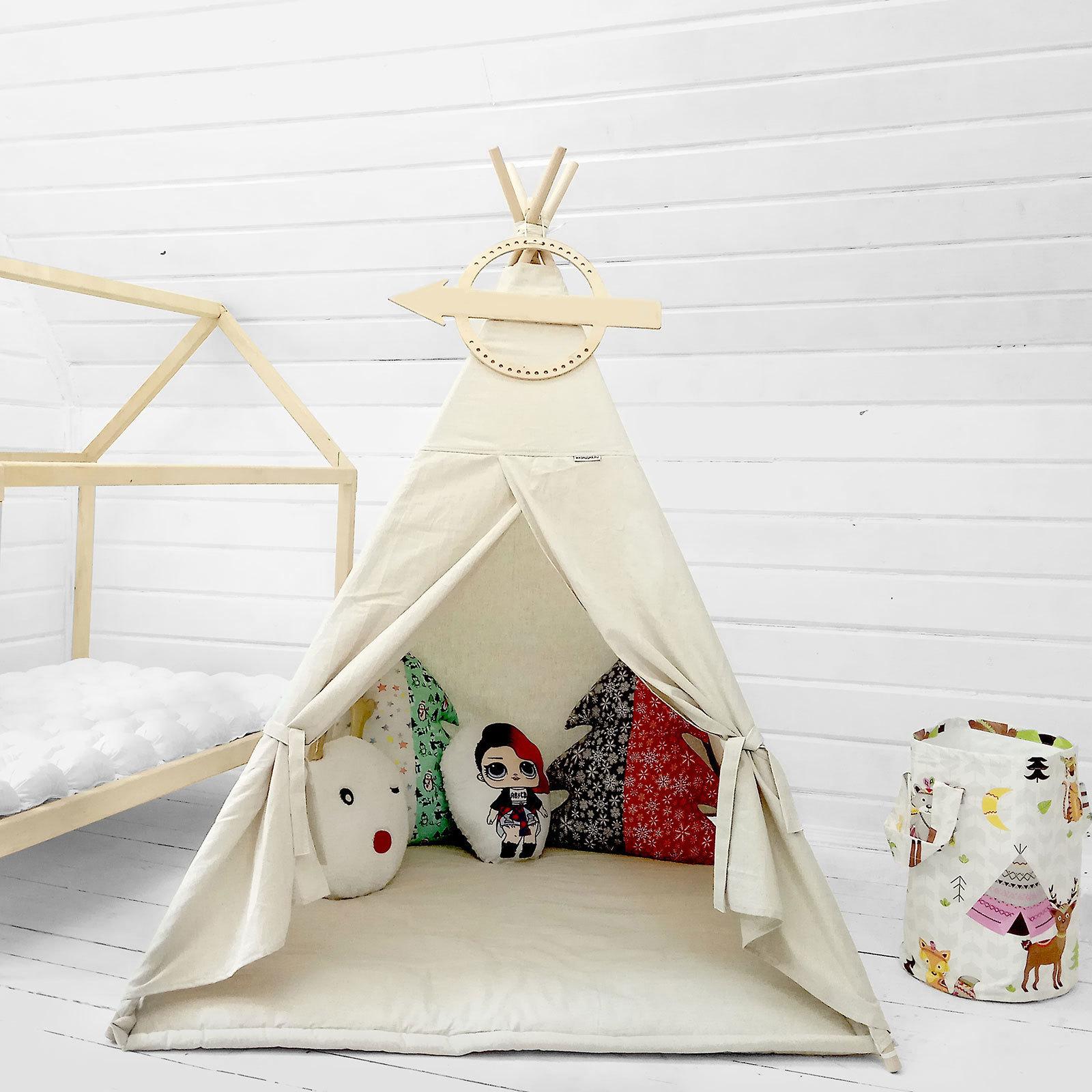 """Палатка ВигВам для детей """"Бежевый Лён"""""""