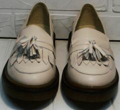 Демисезонные туфли женские лоферы на грубой подошве Markos S-6 Light Beige.