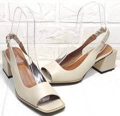 Модельные босоножки на каблуке с квадратным носом Brocoli H150-9137-2234 Cream.