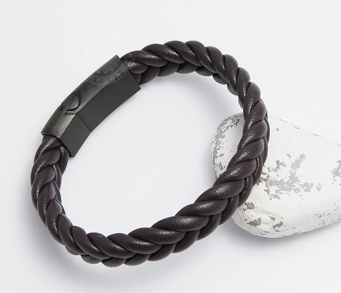 BM472-2 Мужской браслет из коричневых кожаных шнуров (20 см)