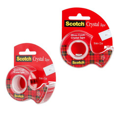 Скотч клейкая лента канцелярская Scotch Crystal прозрачная 19 мм х 7.5 м (с диспенсером)