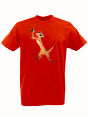 Футболка с принтом мультфильма Король лев (The Lion King, Тимон) красная 003