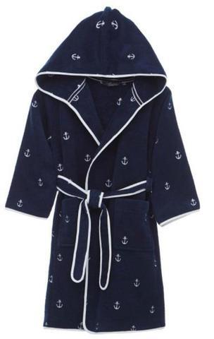 Детский махровый халат MARINE синий 10