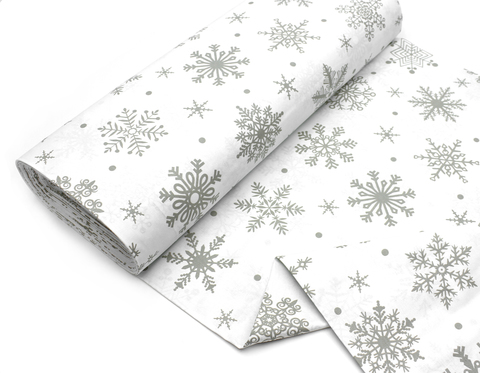 Снежинки бежевые на белом,240 см
