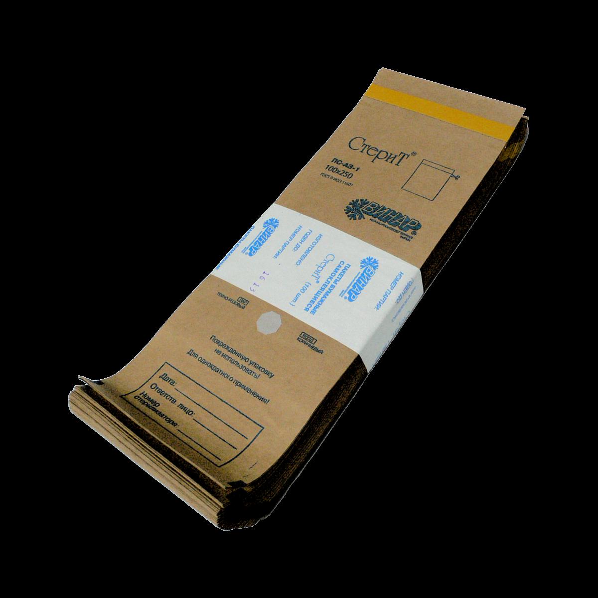 Крафт-пакеты 100х200, самоклеящиеся с индикатором для паровой и газовой стерилизации (Сухожар) (3,14 руб/шт)