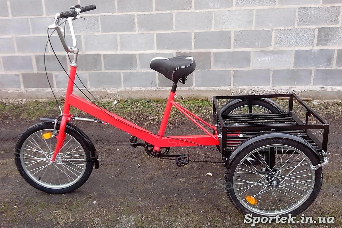 Триколісний вантажний велосипед 'Пекін' (червоний) з вантажною платформою і колесами 20