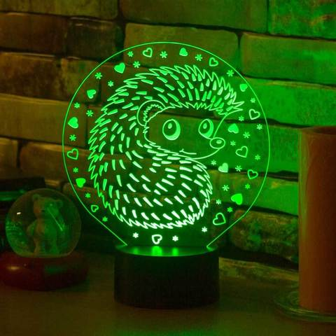 3D ночник Ёжик