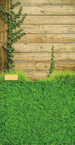 Фотофон виниловый «Зеленая трава и коричневые доски» №092