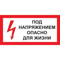 Знак безопасности A14 Под напряжением! Опасно д/жизни (пластик 300х150)