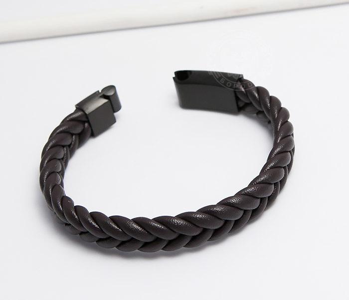 BM472-2 Мужской браслет из коричневых кожаных шнуров (20 см) фото 03