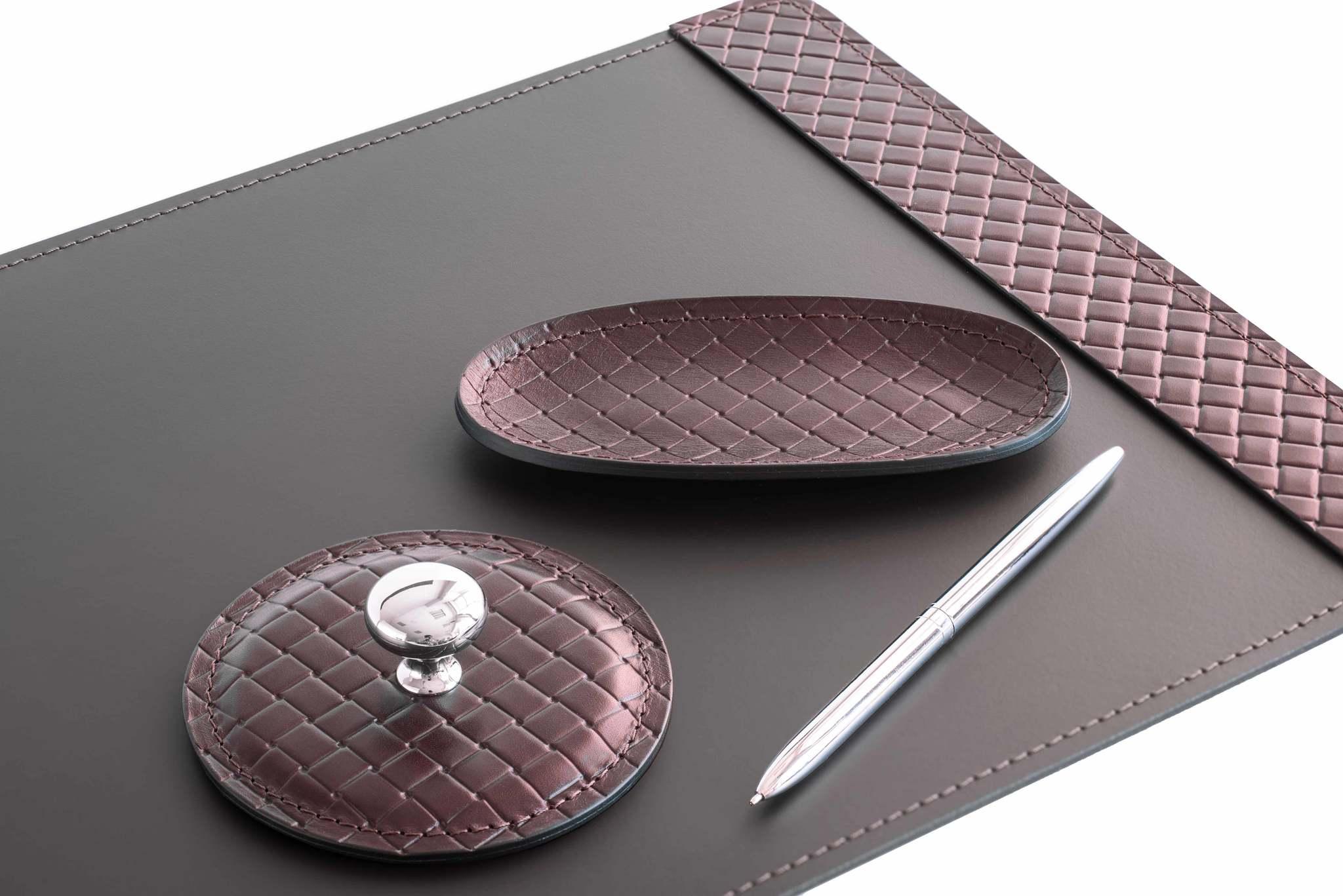 Набор офисный из кожи FG Brown treccia/шоколад 8 предметов